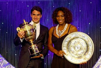 Black Tennis Pro's Roger Federer and Serena Williams 2009 Wimbledon Champions Ball