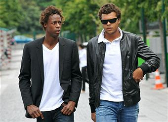 Black Tennis Pro's Jo-Wilfried Tsonga and Gael Monfils at funeral of Mathieu Montcourt