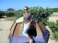 Lauren at our campsite on Ocracoke