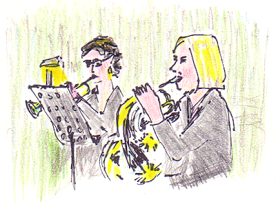 sketch of Karen Donnelly on trumpet and Elizabeth Simpson on French Horn