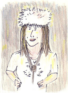 Drawing of Kyrie snapping her fingers; wearing white fur hat and white dress