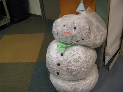 snowman made of shredded paper