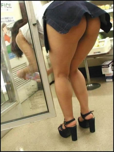 Sexy short skirt bend over are