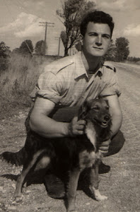 me, duringWW2 in Normandy with dog friend