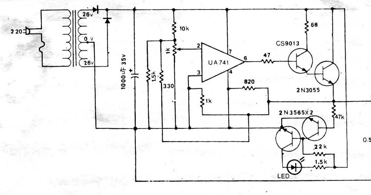 Power Supply Circuit: Circuit power supply regulator 0-30V