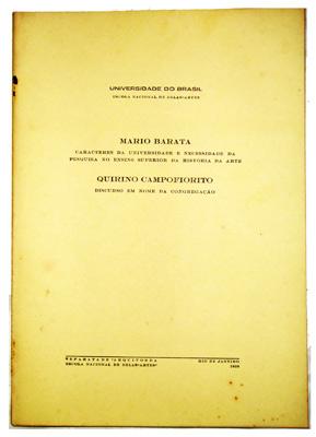 Discurso de posse do Prof. Mário Barata: 1956