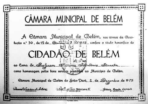 Prof. Mário Barata - Cidadão de Belém - 1975