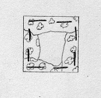 drawing of a scrap of fabric tacked onto a square of paper