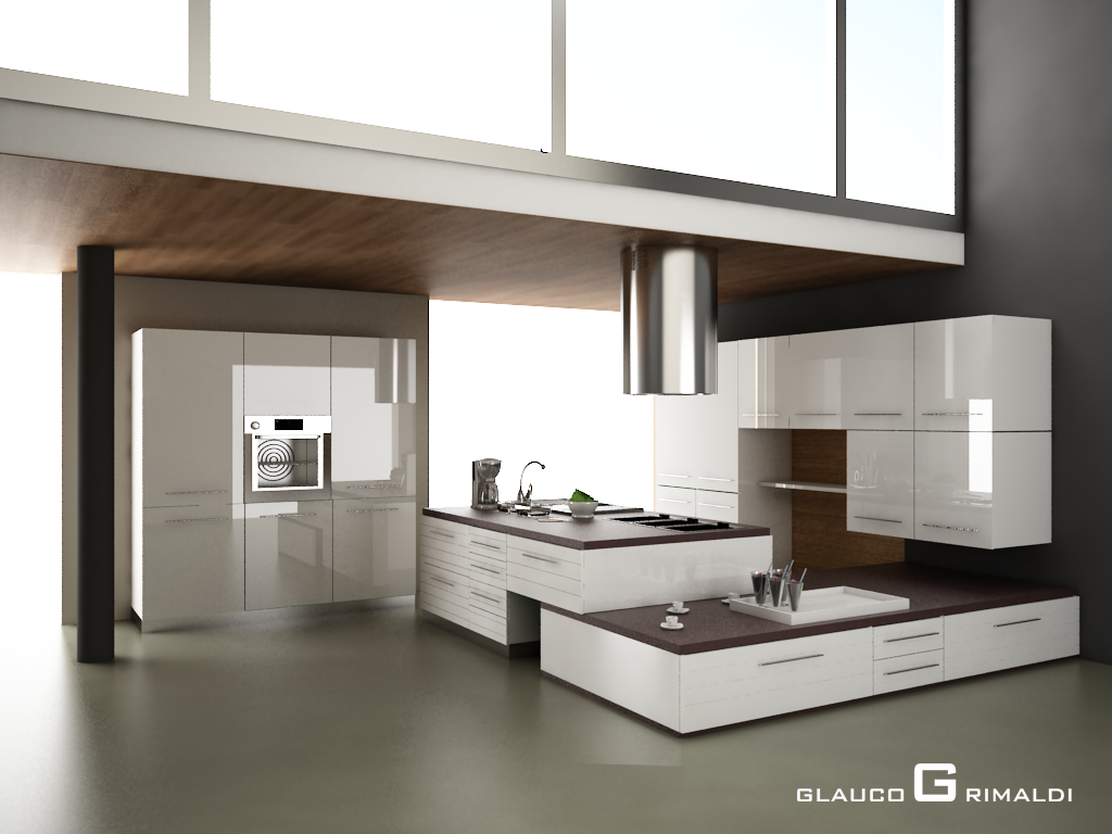 Glauco design cucina in weng e bianco lucido for Cucine moderne lusso