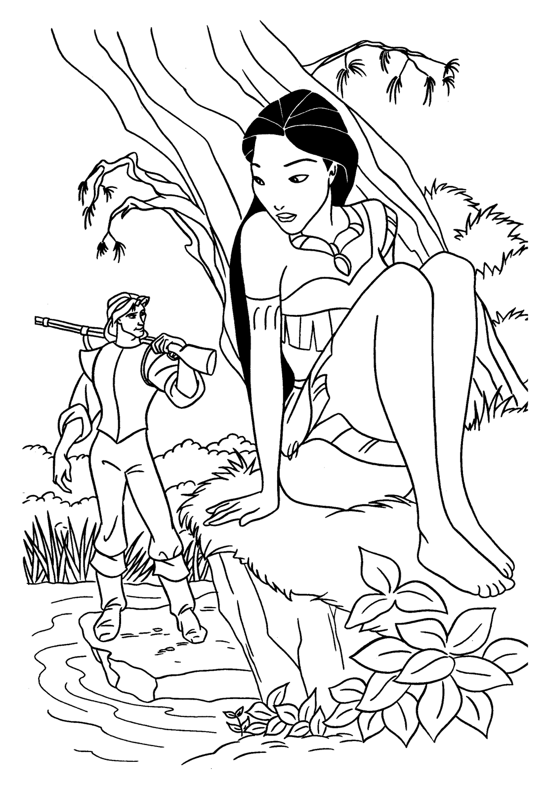 Coloring Pages For Kids Disney Princess Pocahontas