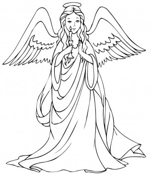 Free Printable : christmas angel colouring pages | choosboox