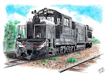 Locomotiva GE BB33-7MP, aquarela sobre papel