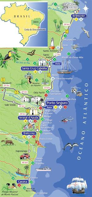 Mapa de localização  das praias de Porto Seguro e Região