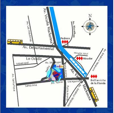 Mapa para chegar ao MIM - Museo Interactivo Mirador - Santiago do Chile