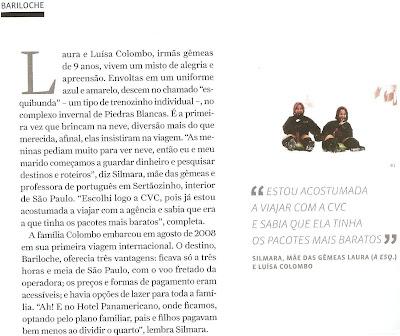 Matéria da Revista Viagem em Turismo sobre esqui na América do Sul.