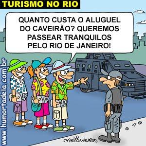 Charge sobre turismo no Rio de Janeiro
