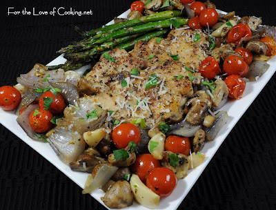 Roasted Chicken Thighs with Tomatoes, Garlic, Asparagus, and Mushrooms