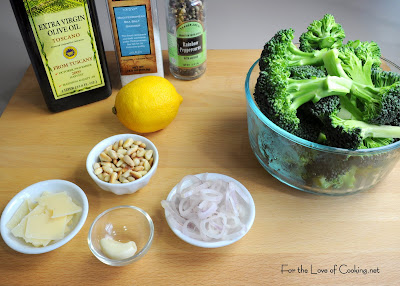 Roasted Broccoli with Shallots, Pine Nuts and Parmesan