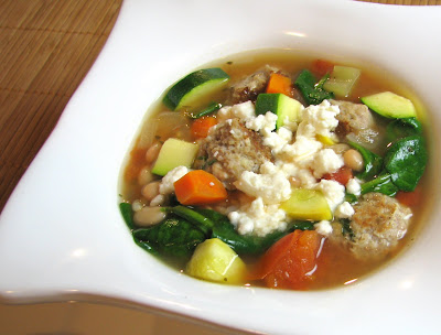 Greek Style Minestrone with Turkey and Feta Meatballs