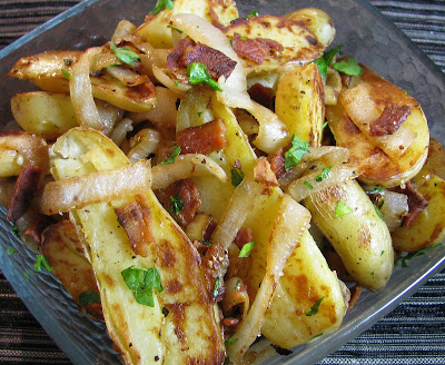 Fingerling Potatoes with Caramelized Onion and Bacon