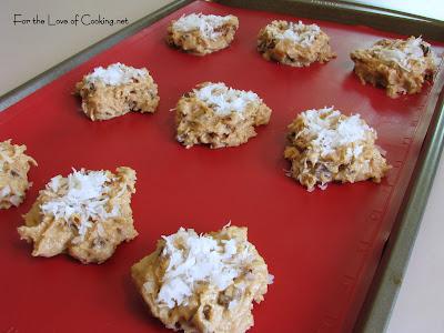 White Chocolate and Semi Sweet Chocolate Swirl Chip, Coconut, Pecan Cookies