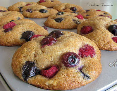 Banana, Blueberry and Raspberry Muffins