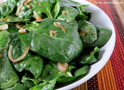 Wilted Spinach Salad with Caramelized Shallots