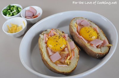 Baked Potato with Egg, Extra Sharp Cheddar, and Canadian Bacon
