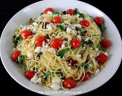 Angel Hair Pasta with Arugula, Feta Cheese, Tomatoes, and Pine Nuts