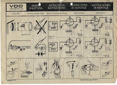 CKD Boats - Roy Mc Bride: VDO Water Temperature Gauge ... on vdo water gauge sensor, 1969 skylark wiring diagrams, diesel tachometer wiring diagrams, vdo volt gauge wiring, teleflex gauges wiring diagrams,