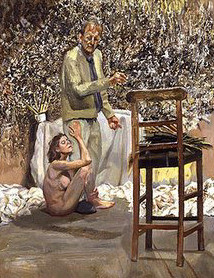 El pintor sorprendido por una admiradora desnuda (detalle)