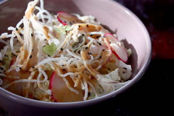 napa cabbage salad with peanut dressing recipe