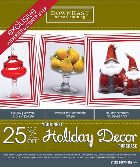 25% Off DownEast Home Decor Coupon!