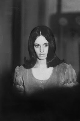 Manson Family member Susan Atkins leaving the Grand Jury room after