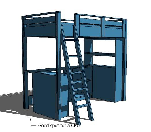 Under Loft Bed Desk System With Storage Ana White
