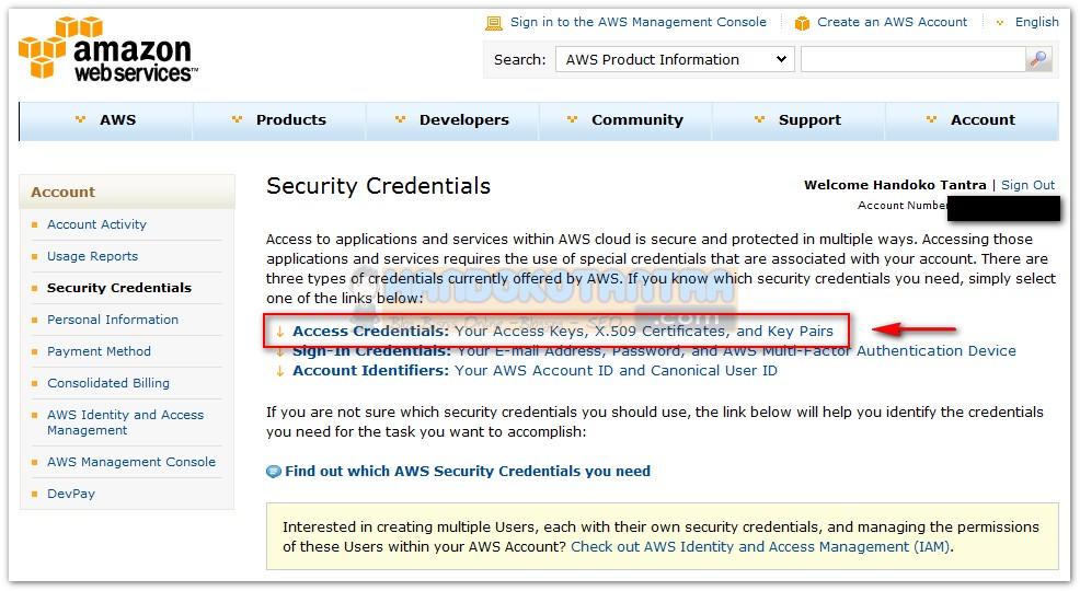 Kode API Access Key Amazon