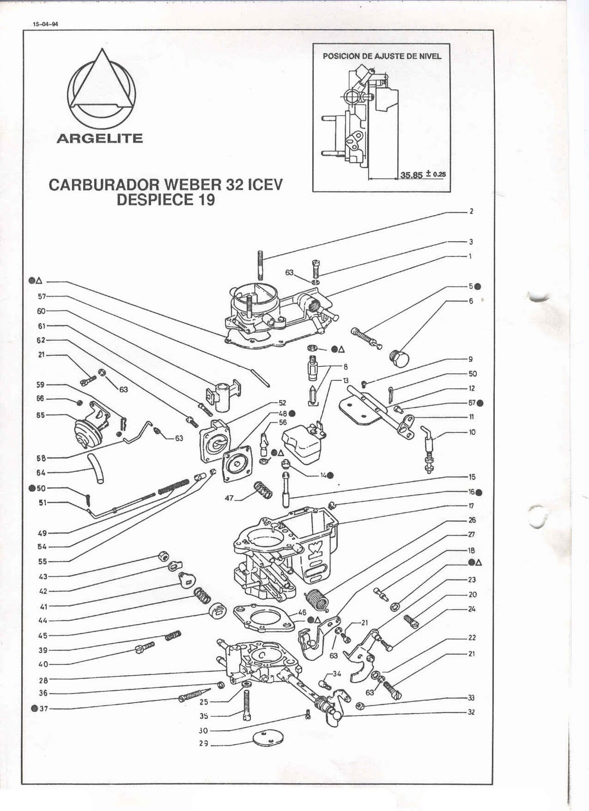 ajuste de motor  despiece carburador weber 32 icev