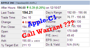 Apple Call Warrant