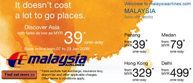 MAS offering low fares
