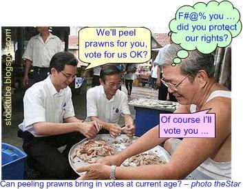 malaysia candidate peeling prawns
