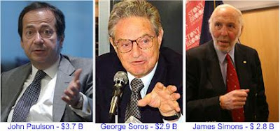 John Paulson, George Soros and James H. Simons
