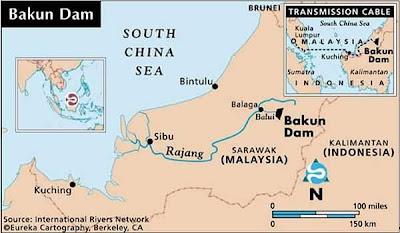 Bakun Dam Location Map