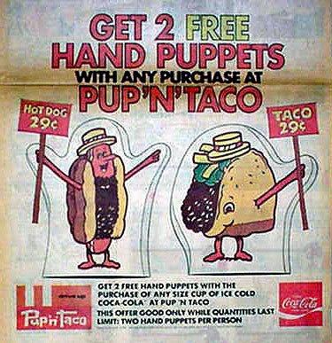taco pup menu hand bell rip restaurant forgotten food puppets tacos beach gone long blast past history 1970s california memories