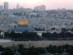 O Monte do Templo ao Pôr-do-Sol, Jerusalem, Israel.