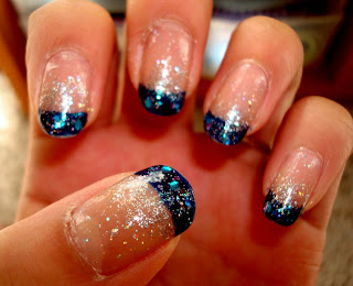 crystals nail designs navy blue tips with silver  blue