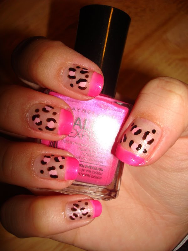 CrystaLs NaiL DesignS: HOT PINK TIPS with PINK LEOPARD DESIGN