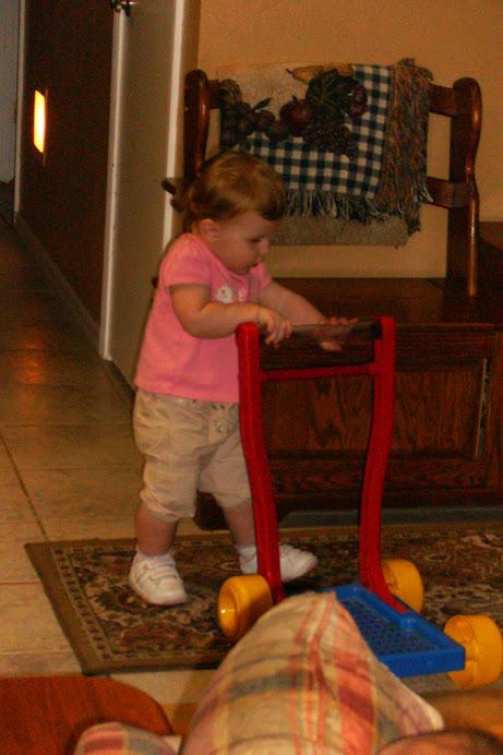 Friend Katherine enjoying Jenna's toy!