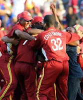 The West Indies cricket team celebrating their victory in the 2nd ODI against India in Jamica - 20 May 2006
