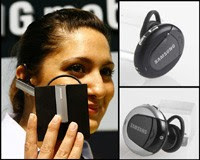 Samsung's WEP-500 Micro Mini Round Bluetooth Headset designed by Bang and Olufsen (B&O) for the upmarket consumer
