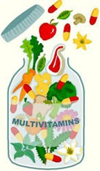 Multivitamin tablets / capsules with antioxidants Vitamin C and E fight free radicals